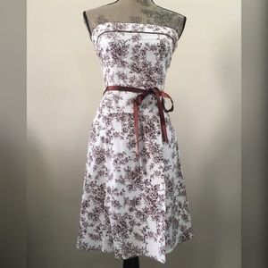 Strapless ivory dress w/ brown floral design